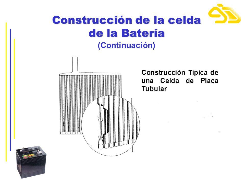 Construcción de la celda de la Batería (Continuación) Construcción Típica de una Celda de Placa Tubular