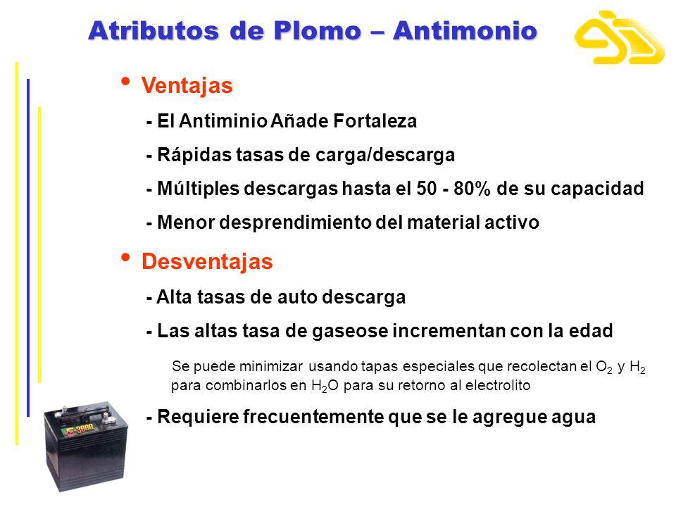 Atributos de Plomo – Antimonio Ventajas - El Antiminio Añade Fortaleza - Rápidas tasas de carga/descarga - Múltiples descargas hasta el 50 - 80% de su