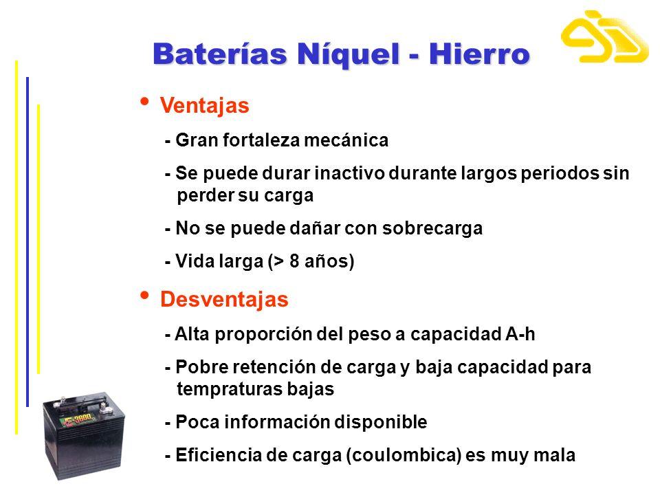 Baterías Níquel - Hierro Ventajas - Gran fortaleza mecánica - Se puede durar inactivo durante largos periodos sin...perder su carga - No se puede daña