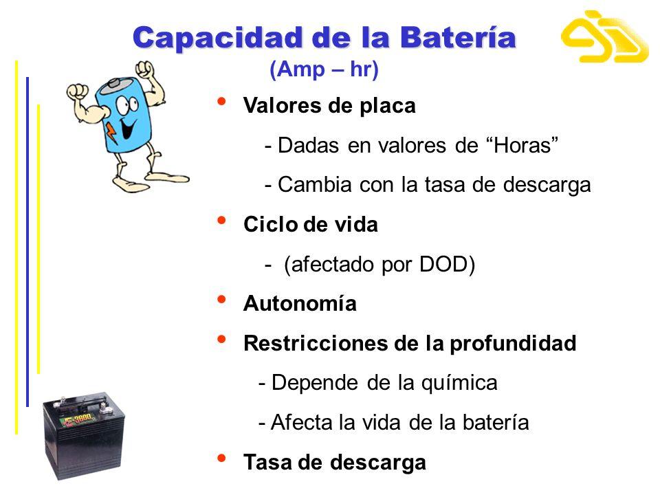 Capacidad de la Batería Capacidad de la Batería (Amp – hr) Valores de placa - Dadas en valores de Horas - Cambia con la tasa de descarga Ciclo de vida