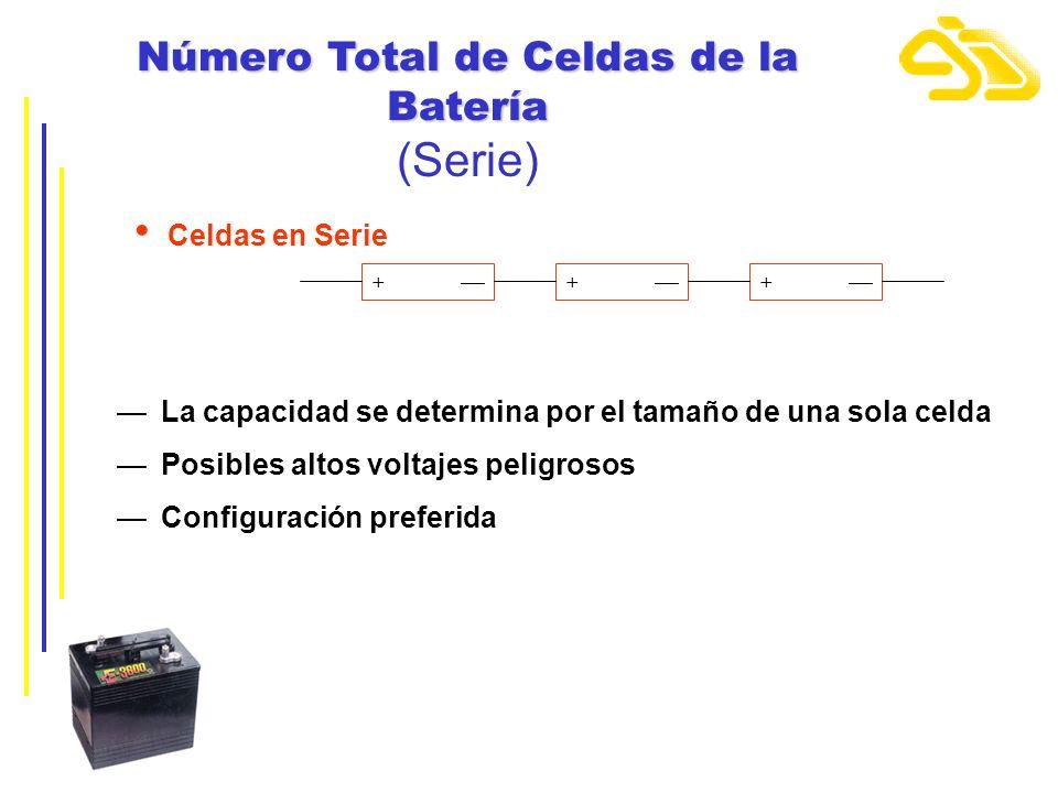 Número Total de Celdas de la Batería (Serie) Celdas en Serie + + + La capacidad se determina por el tamaño de una sola celda Posibles altos voltajes p