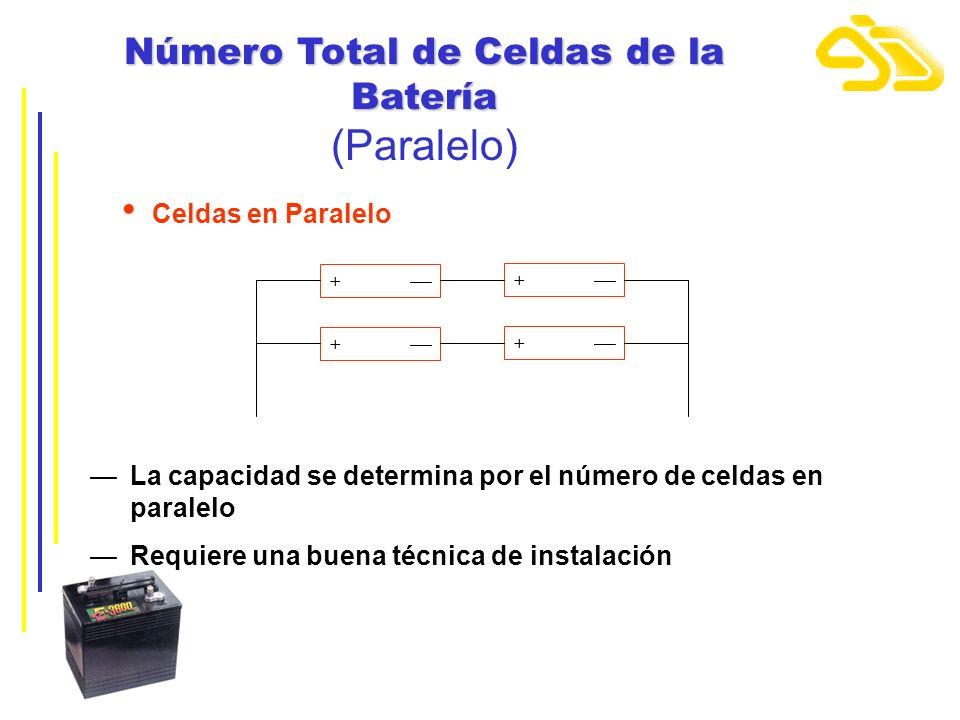 + + + + Celdas en Paralelo La capacidad se determina por el número de celdas en paralelo Requiere una buena técnica de instalación Número Total de Cel