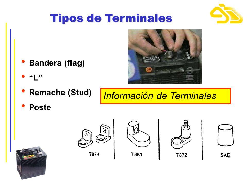 Tipos de Terminales Bandera (flag) L Remache (Stud) Poste Información de Terminales