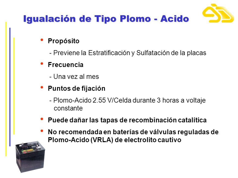 Igualación de Tipo Plomo - Acido Propósito - Previene la Estratificación y Sulfatación de la placas Frecuencia - Una vez al mes Puntos de fijación - P
