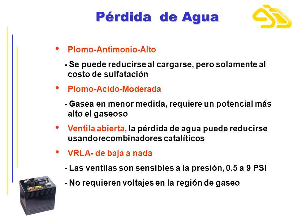 Pérdida de Agua Plomo-Antimonio-Alto - Se puede reducirse al cargarse, pero solamente al costo de sulfatación Plomo-Acido-Moderada - Gasea en menor me