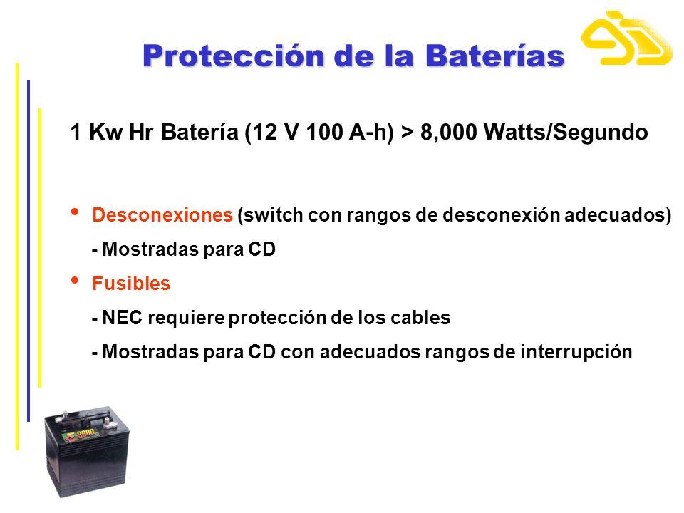 Protección de la Baterías 1 Kw Hr Batería (12 V 100 A-h) > 8,000 Watts/Segundo Desconexiones (switch con rangos de desconexión adecuados) - Mostradas