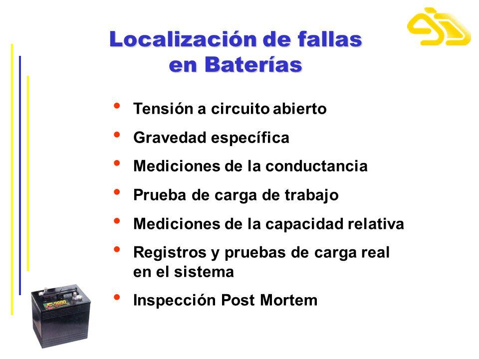 Localización de fallas en Baterías Tensión a circuito abierto Gravedad específica Mediciones de la conductancia Prueba de carga de trabajo Mediciones