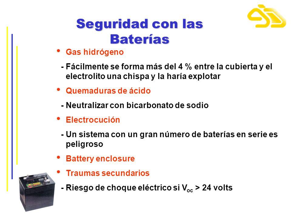 Seguridad con las Baterías Gas hidrógeno - Fácilmente se forma más del 4 % entre la cubierta y el electrolito una chispa y la haría explotar Quemadura