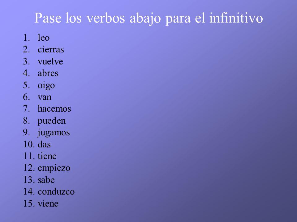Pase los verbos abajo para el infinitivo 1.leo 2.cierras 3.vuelve 4.abres 5.oigo 6.van 7.hacemos 8.pueden 9.jugamos 10.das 11.tiene 12.empiezo 13.sabe 14.conduzco 15.viene