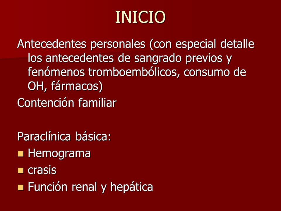 INICIO Antecedentes personales (con especial detalle los antecedentes de sangrado previos y fenómenos tromboembólicos, consumo de OH, fármacos) Conten