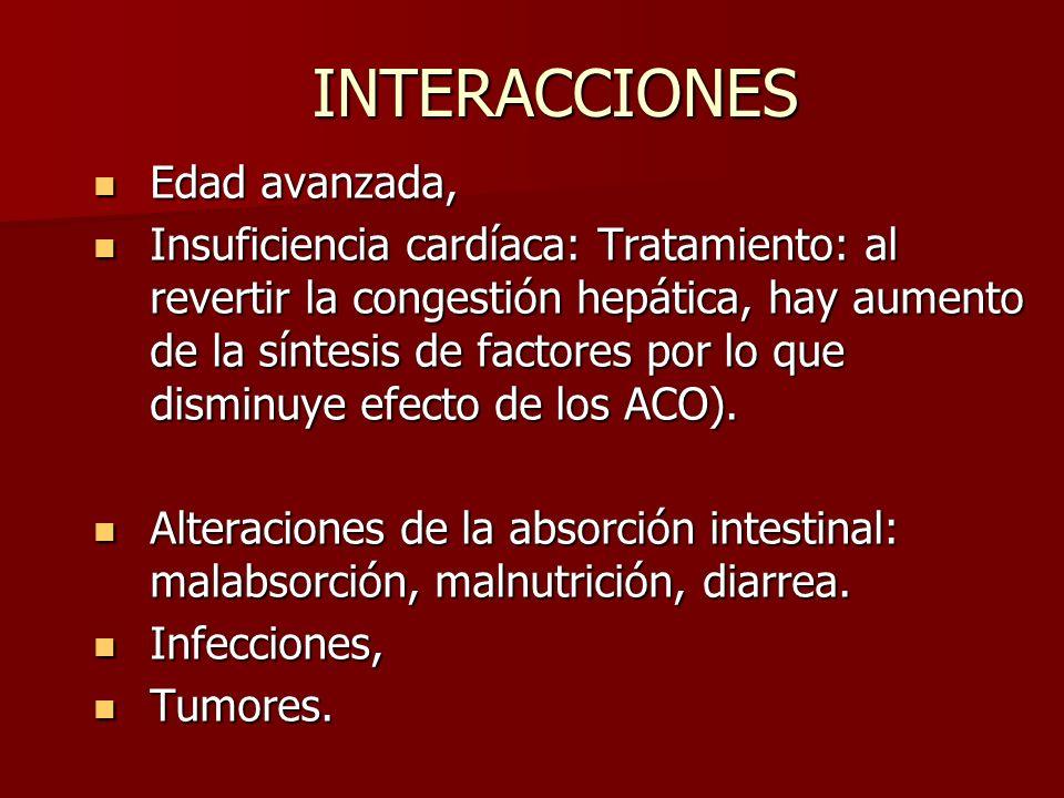 INTERACCIONES Edad avanzada, Edad avanzada, Insuficiencia cardíaca: Tratamiento: al revertir la congestión hepática, hay aumento de la síntesis de fac