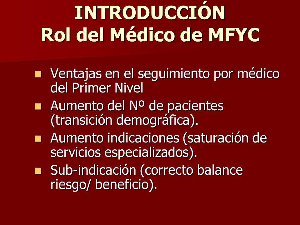 INTRODUCCIÓN Rol del Médico de MFYC Ventajas en el seguimiento por médico del Primer Nivel Ventajas en el seguimiento por médico del Primer Nivel Aume