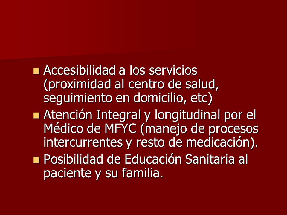 Accesibilidad a los servicios (proximidad al centro de salud, seguimiento en domicilio, etc) Accesibilidad a los servicios (proximidad al centro de sa