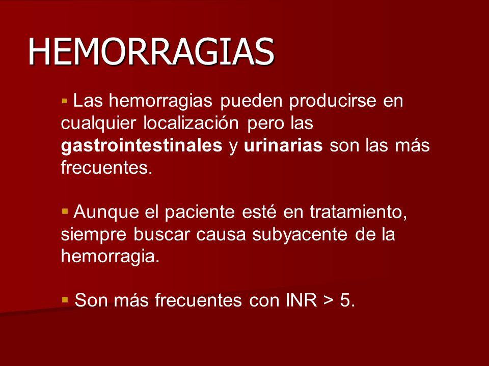 HEMORRAGIAS Las hemorragias pueden producirse en cualquier localización pero las gastrointestinales y urinarias son las más frecuentes. Aunque el paci