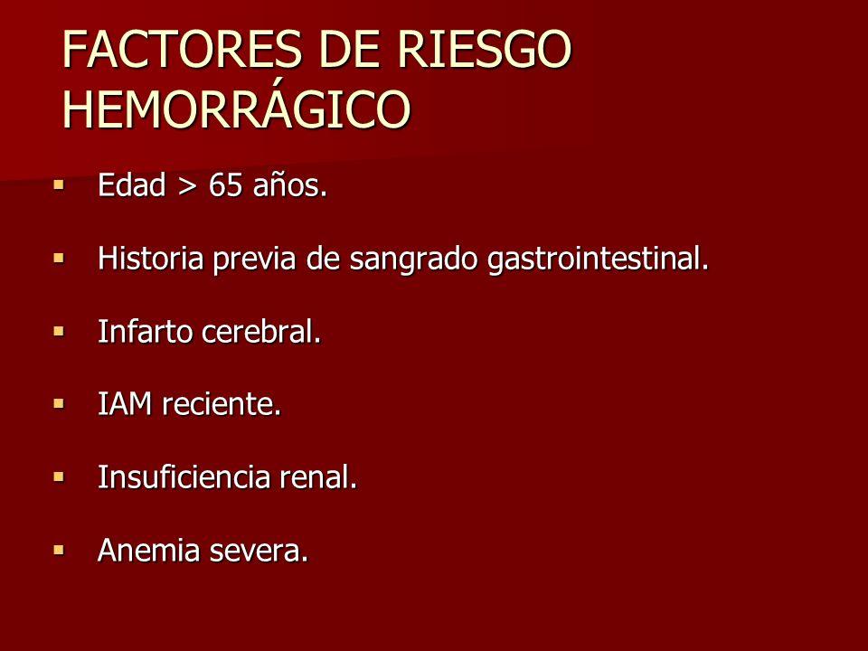 FACTORES DE RIESGO HEMORRÁGICO Edad > 65 años. Edad > 65 años. Historia previa de sangrado gastrointestinal. Historia previa de sangrado gastrointesti