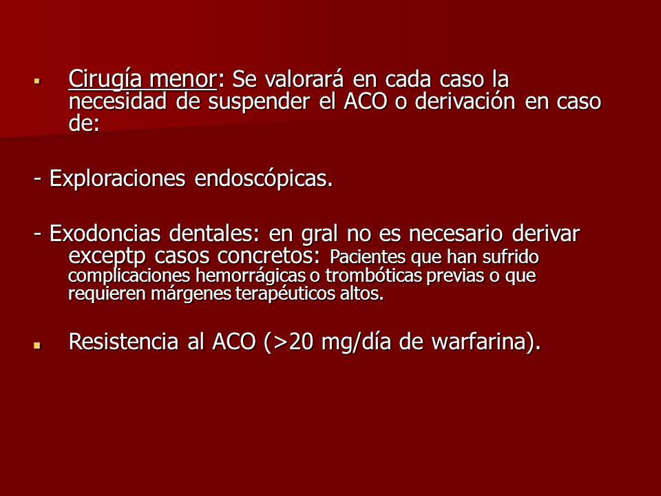 Cirugía menor: Se valorará en cada caso la necesidad de suspender el ACO o derivación en caso de: Cirugía menor: Se valorará en cada caso la necesidad
