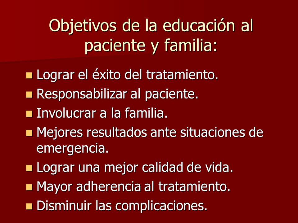 Objetivos de la educación al paciente y familia: Lograr el éxito del tratamiento. Lograr el éxito del tratamiento. Responsabilizar al paciente. Respon
