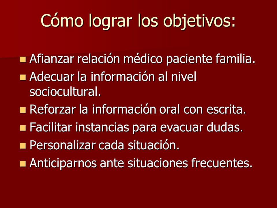 Cómo lograr los objetivos: Afianzar relación médico paciente familia. Afianzar relación médico paciente familia. Adecuar la información al nivel socio
