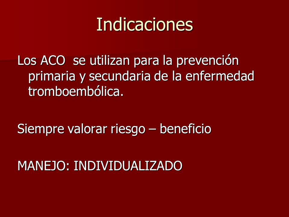 Indicaciones Los ACO se utilizan para la prevención primaria y secundaria de la enfermedad tromboembólica. Siempre valorar riesgo – beneficio MANEJO: