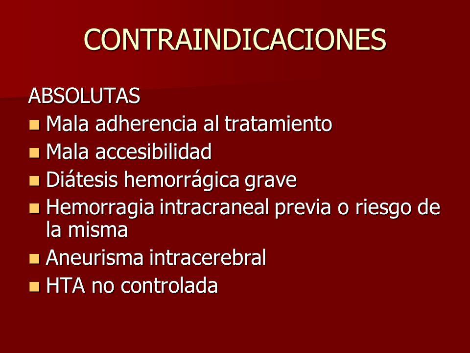 CONTRAINDICACIONES ABSOLUTAS Mala adherencia al tratamiento Mala adherencia al tratamiento Mala accesibilidad Mala accesibilidad Diátesis hemorrágica