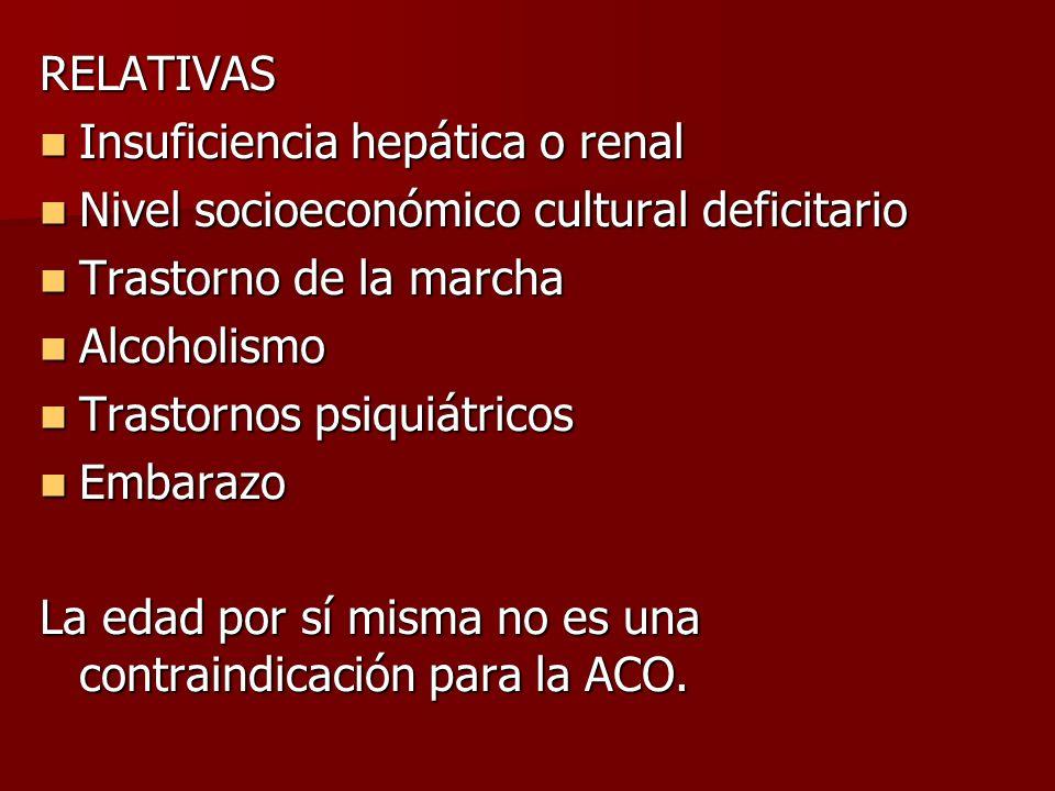 RELATIVAS Insuficiencia hepática o renal Insuficiencia hepática o renal Nivel socioeconómico cultural deficitario Nivel socioeconómico cultural defici