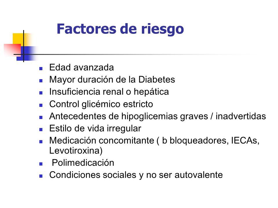 Factores de riesgo Edad avanzada Mayor duración de la Diabetes Insuficiencia renal o hepática Control glicémico estricto Antecedentes de hipoglicemias