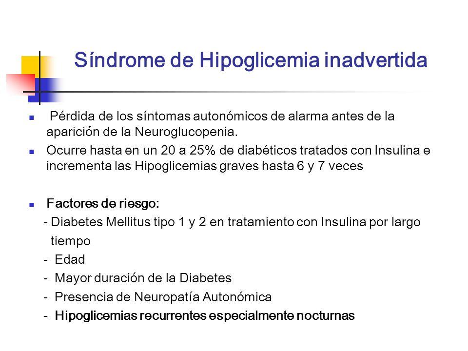 Síndrome de Hipoglicemia inadvertida Pérdida de los síntomas autonómicos de alarma antes de la aparición de la Neuroglucopenia. Ocurre hasta en un 20
