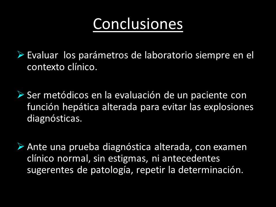 Conclusiones Evaluar los parámetros de laboratorio siempre en el contexto clínico. Ser metódicos en la evaluación de un paciente con función hepática
