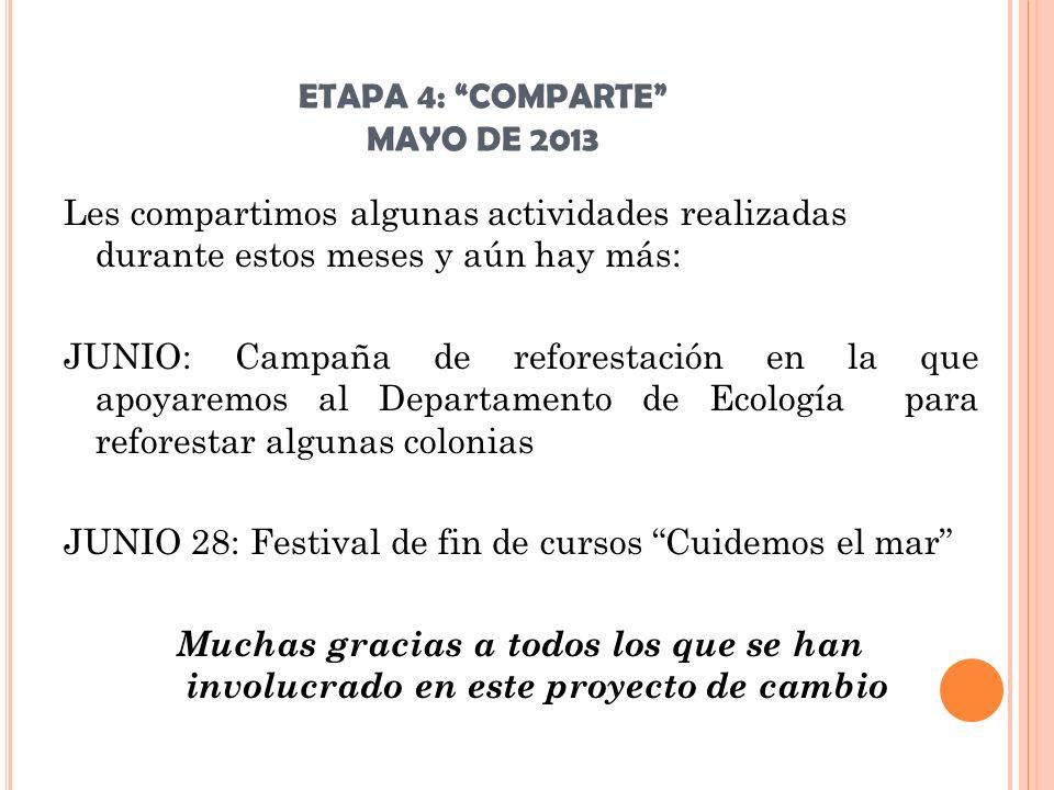 ETAPA 4: COMPARTE MAYO DE 2013 Les compartimos algunas actividades realizadas durante estos meses y aún hay más: JUNIO: Campaña de reforestación en la