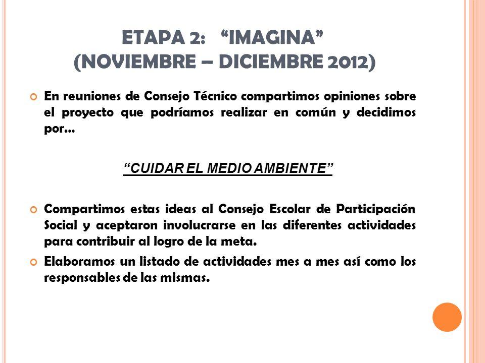 ETAPA 2: IMAGINA (NOVIEMBRE – DICIEMBRE 2012) En reuniones de Consejo Técnico compartimos opiniones sobre el proyecto que podríamos realizar en común