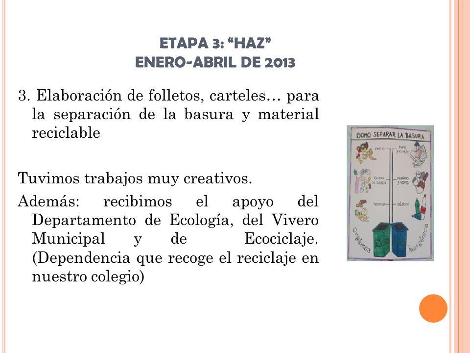 ETAPA 3: HAZ ENERO-ABRIL DE 2013 3. Elaboración de folletos, carteles… para la separación de la basura y material reciclable Tuvimos trabajos muy crea