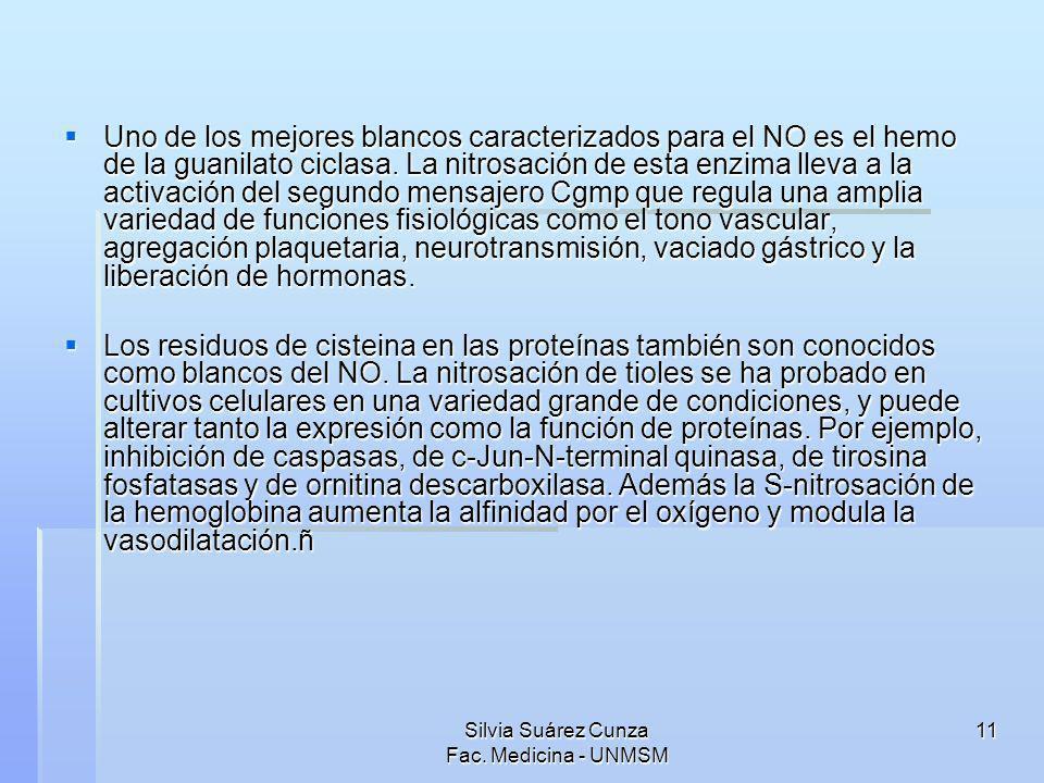 Silvia Suárez Cunza Fac. Medicina - UNMSM 11 Uno de los mejores blancos caracterizados para el NO es el hemo de la guanilato ciclasa. La nitrosación d