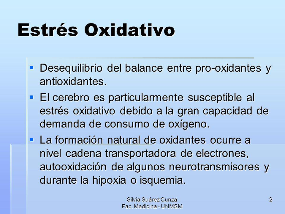 Silvia Suárez Cunza Fac. Medicina - UNMSM 2 Estrés Oxidativo Desequilibrio del balance entre pro-oxidantes y antioxidantes. Desequilibrio del balance