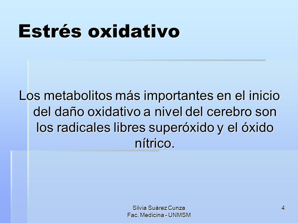 4 Estrés oxidativo Los metabolitos más importantes en el inicio del daño oxidativo a nivel del cerebro son los radicales libres superóxido y el óxido