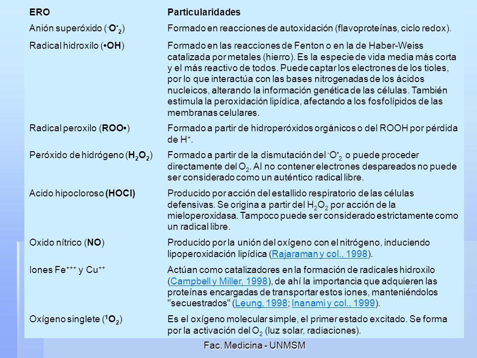 Silvia Suárez Cunza Fac. Medicina - UNMSM 5 ERO Particularidades Anión superóxido ( - O 2 )Formado en reacciones de autoxidación (flavoproteínas, cicl