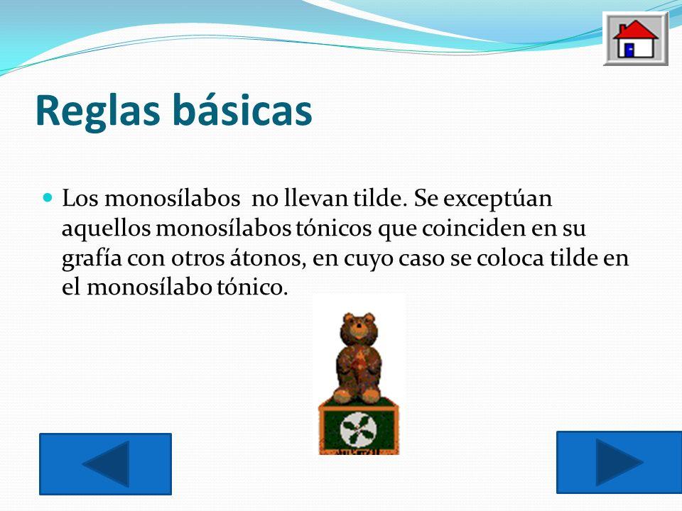 Reglas básicas Los monosílabos no llevan tilde.