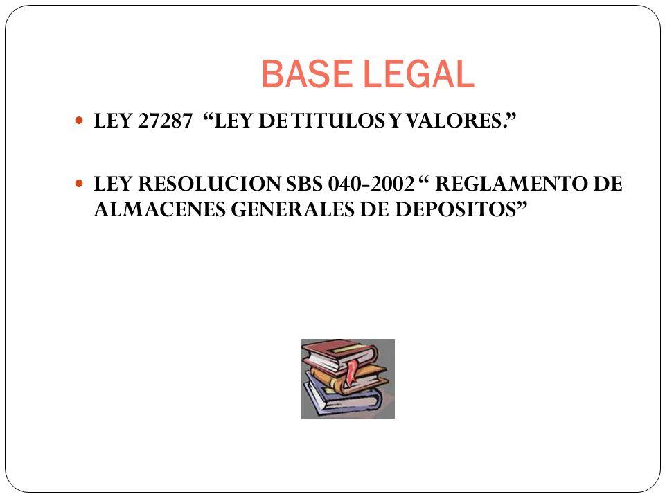 BASE LEGAL LEY 27287 LEY DE TITULOS Y VALORES. LEY RESOLUCION SBS 040-2002 REGLAMENTO DE ALMACENES GENERALES DE DEPOSITOS