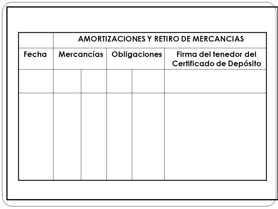 AMORTIZACIONES Y RETIRO DE MERCANCIAS FechaMercancíasObligacionesFirma del tenedor del Certificado de Depósito
