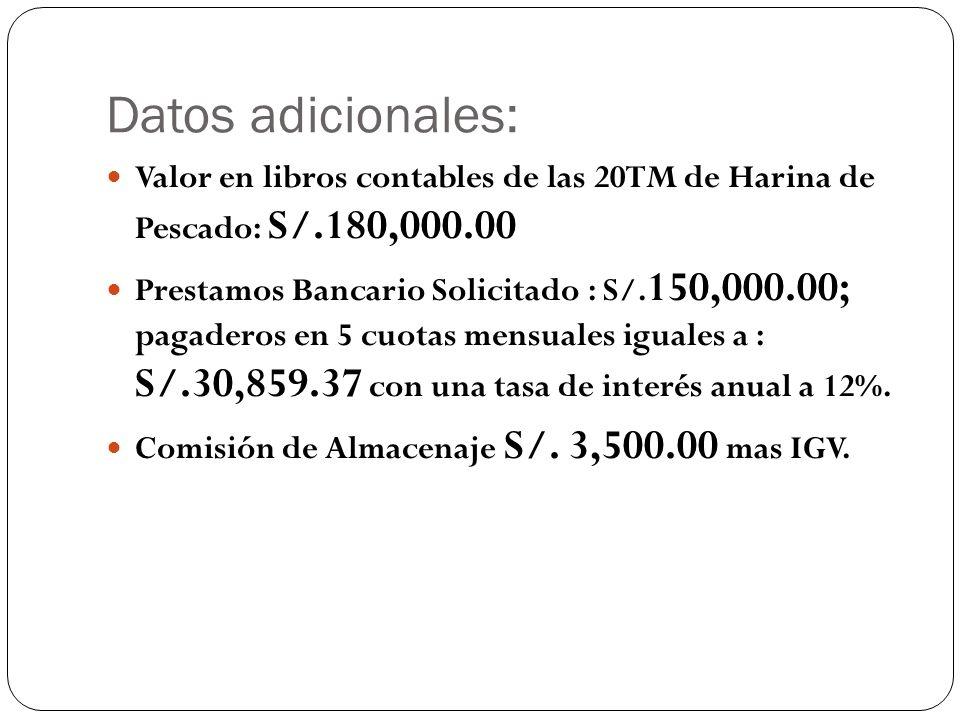 Datos adicionales: Valor en libros contables de las 20TM de Harina de Pescado: S/.180,000.00 Prestamos Bancario Solicitado : S/. 150,000.00; pagaderos