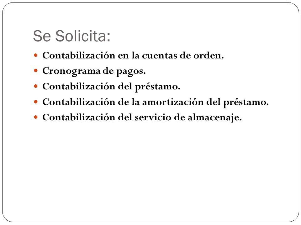 Se Solicita: Contabilización en la cuentas de orden. Cronograma de pagos. Contabilización del préstamo. Contabilización de la amortización del préstam
