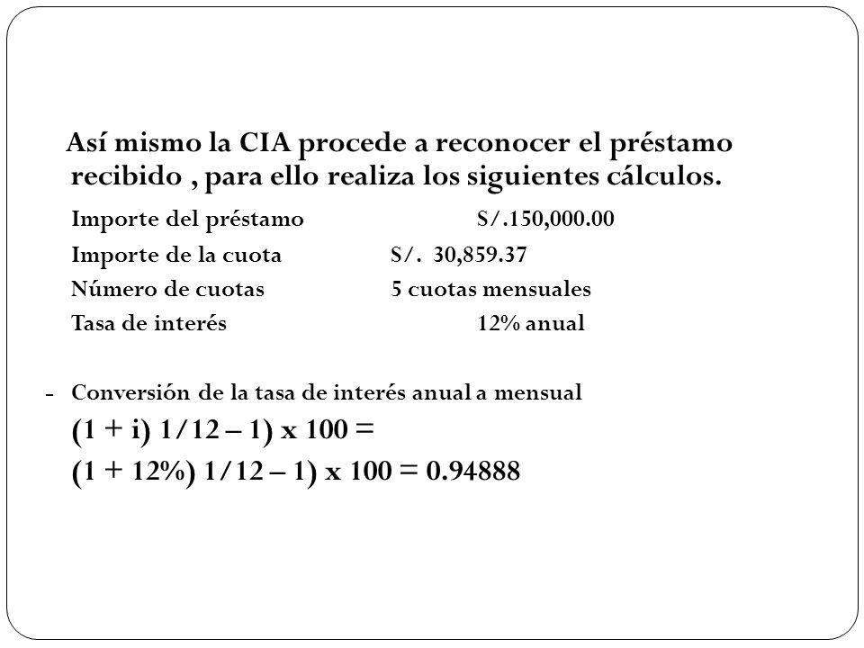 Así mismo la CIA procede a reconocer el préstamo recibido, para ello realiza los siguientes cálculos. Importe del préstamoS/.150,000.00 Importe de la