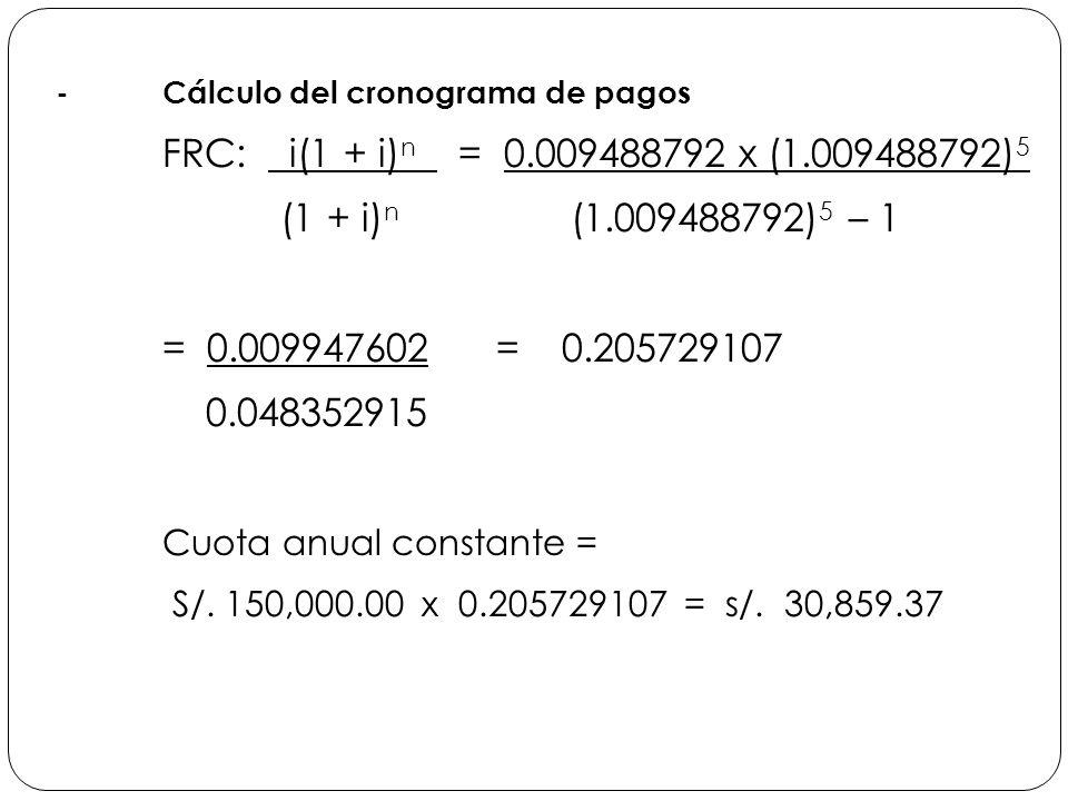 -Cálculo del cronograma de pagos FRC: i(1 + i) n = 0.009488792 x (1.009488792) 5 (1 + i) n (1.009488792) 5 – 1 = 0.009947602 = 0.205729107 0.048352915