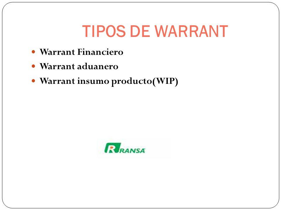 TIPOS DE WARRANT Warrant Financiero Warrant aduanero Warrant insumo producto(WIP)