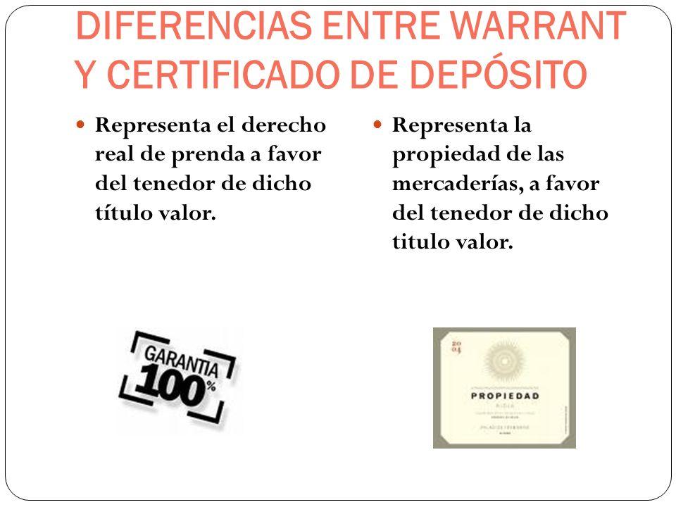 DIFERENCIAS ENTRE WARRANT Y CERTIFICADO DE DEPÓSITO Representa el derecho real de prenda a favor del tenedor de dicho título valor. Representa la prop