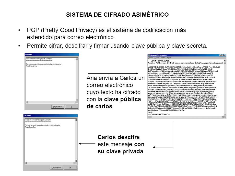 SISTEMA DE CIFRADO ASIMÉTRICO PGP (Pretty Good Privacy) es el sistema de codificación más extendido para correo electrónico. Permite cifrar, descifrar