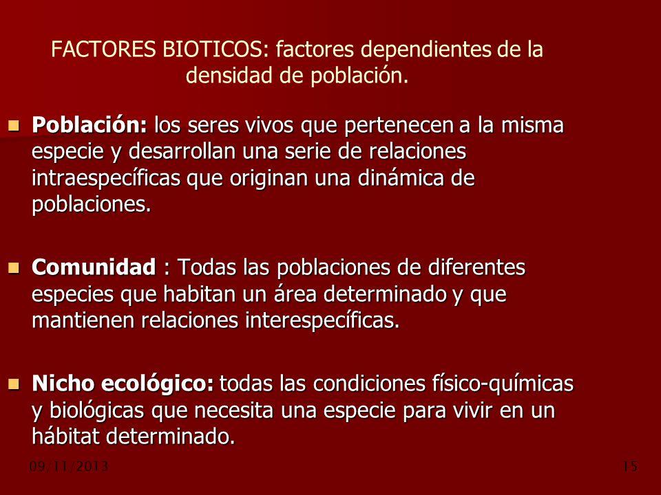 09/11/201315 FACTORES BIOTICOS: factores dependientes de la densidad de población. Población: los seres vivos que pertenecen a la misma especie y desa