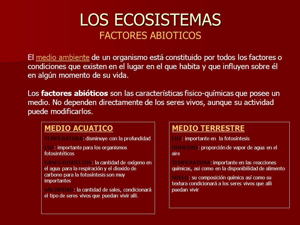 LOS ECOSISTEMAS LOS ECOSISTEMAS FACTORES ABIOTICOS El medio ambiente de un organismo está constituido por todos los factores o condiciones que existen