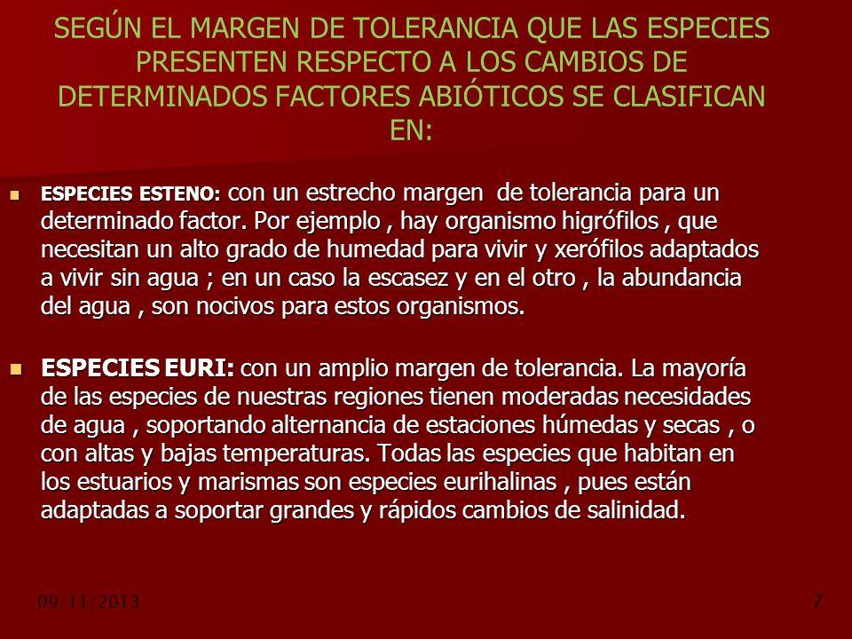 09/11/20137 SEGÚN EL MARGEN DE TOLERANCIA QUE LAS ESPECIES PRESENTEN RESPECTO A LOS CAMBIOS DE DETERMINADOS FACTORES ABIÓTICOS SE CLASIFICAN EN: ESPEC