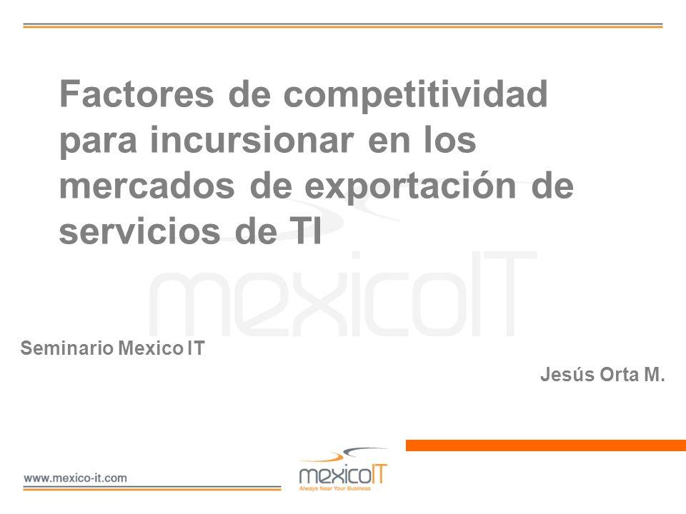 Contexto general Mercado mundial de servicios de TI Mercado de outsourcing (BPO + TI) Participación de mercado de la India Exportaciones de México de sTI Participación de mercado de México Proporción economía India - México 495 BUSD 56 BUSD 58% 610 MUSD 1.1% 1.2 - 1