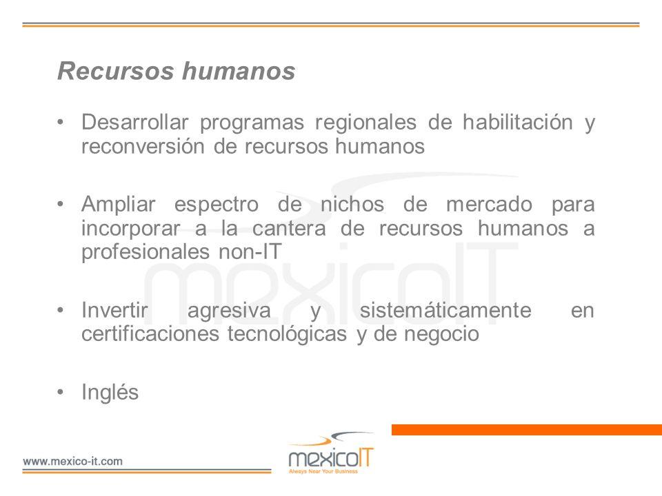 Recursos humanos Desarrollar programas regionales de habilitación y reconversión de recursos humanos Ampliar espectro de nichos de mercado para incorp
